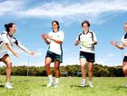 Toowoomba touch talent Emilee Cherry (second from right) trains with new Australian rugby sevens team mates Alicia Quirk, Rebecca Tarvo and Lizzie Campbell.