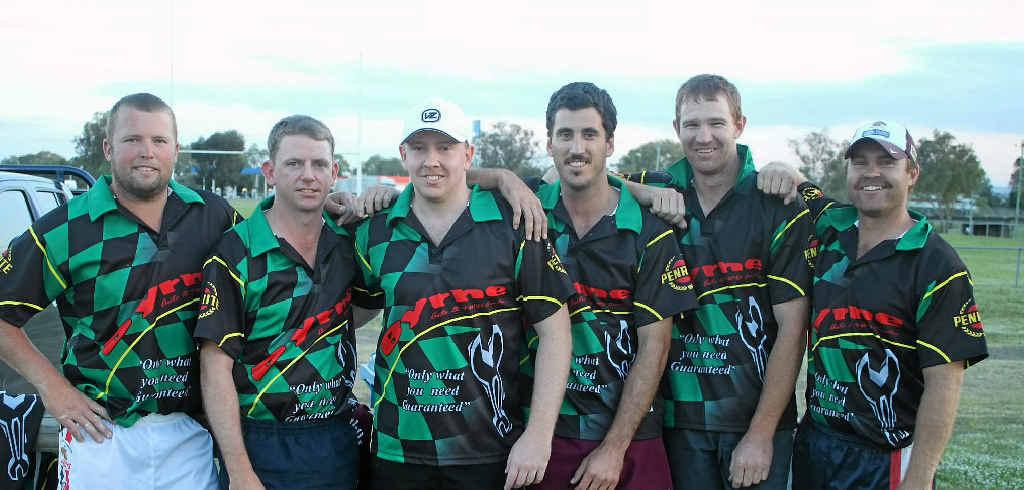 Byrne Auto players Scott Beard, Matthew Dwan, Jamie Cochrane, Adam Byrne, Brett Benz and Harold Byrne at touch rugby on Monday night.