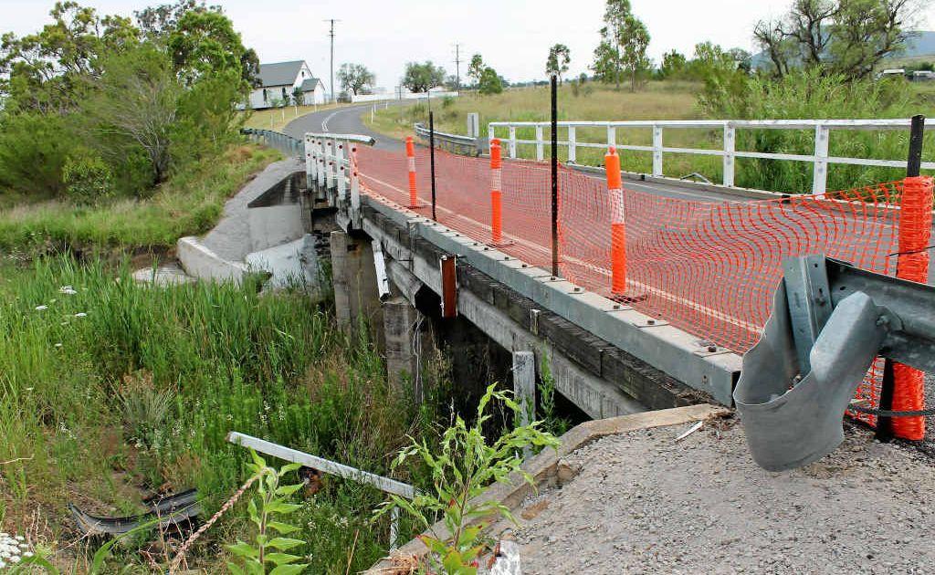 Palmer Bridge at Freestone is awaiting repair after a car went through the railing.