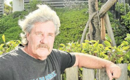 Angry: Gary O'Donnell objects to a four-storey house going up next door.