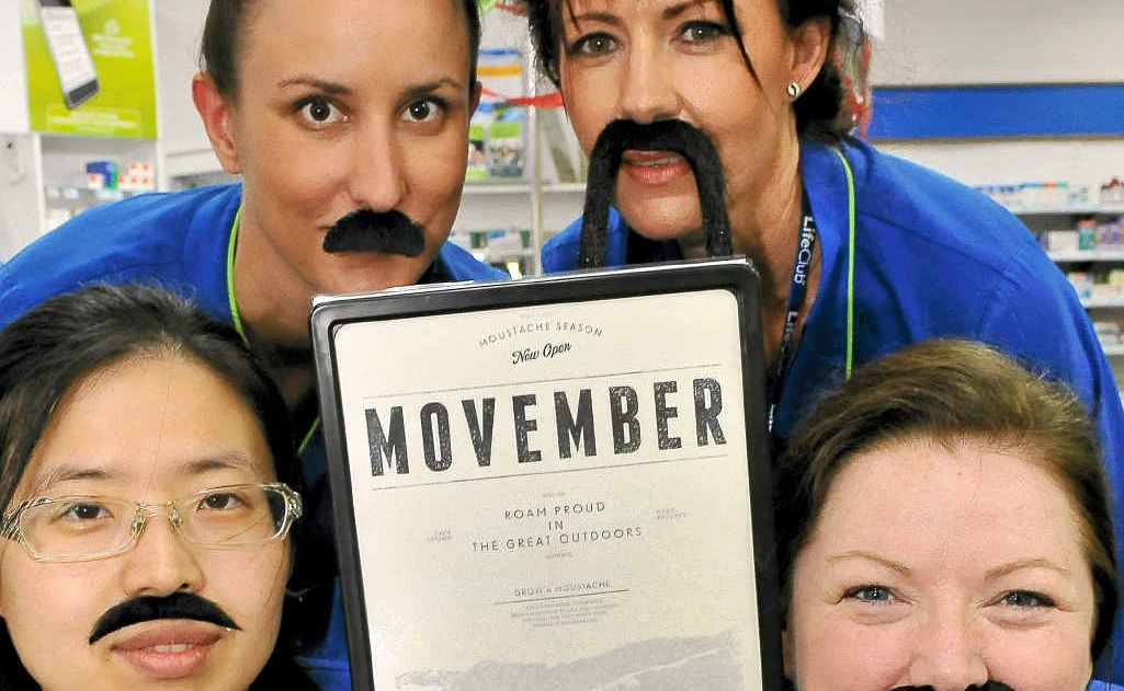 Coral Coast Pharmacy's Kimberley Boyd, Kathryn Boag, Amy Shin, Cryssie Lawton, Natalie Hall and Leah Hainsworth sporting magnificent mos to help raise money for Movember.