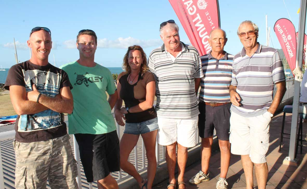 WINNERS: Take Flight crew Stuart Allwright and Mike Keyte, Bobby D crew Tania Watson and Ross Winterbourn and Anthea crew Dave Pratchett and Dewi Hughes were the Whitsunday Sailing Club two-handed race Division 2 and 3 winners.  Photo Aimee Vinci / Whitsunday Times