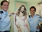 Police are seeking the owner of a cut-out display after Gisele was left stranded in town.