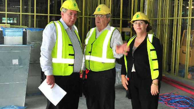 Mackay Base Hospital CEO Kerry McGovern (centre) with MPs Tim Mulherin and Jan Jarratt yesterday.