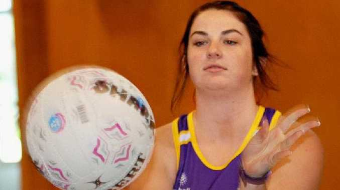 Keelie Grayson passes at the Whitsunday Sharks netball trials.