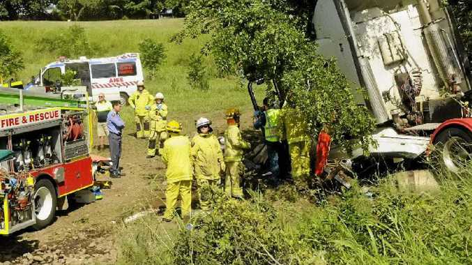A man died after the prime mover he was driving collided with a tree at Helidon this morning.