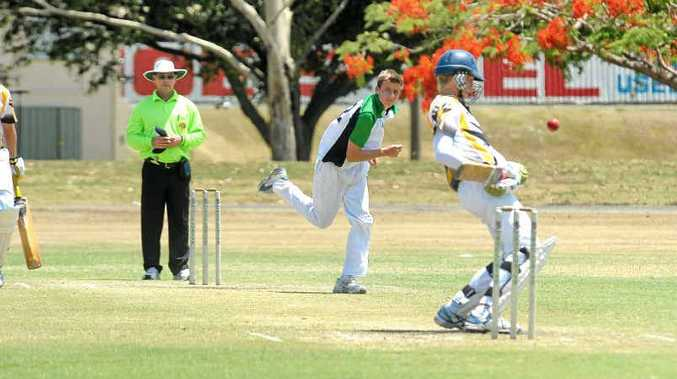 Metropolitan North's Jordan Gentile keeps Capricornia batsman Tom Bugeja on his toes in the Queensland Schools 14 Years and Under Championships at Kendall's Flats.