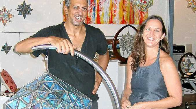 Asaf (left) and Samaya Zakay with their glass creations in their Byron Bay outlet.