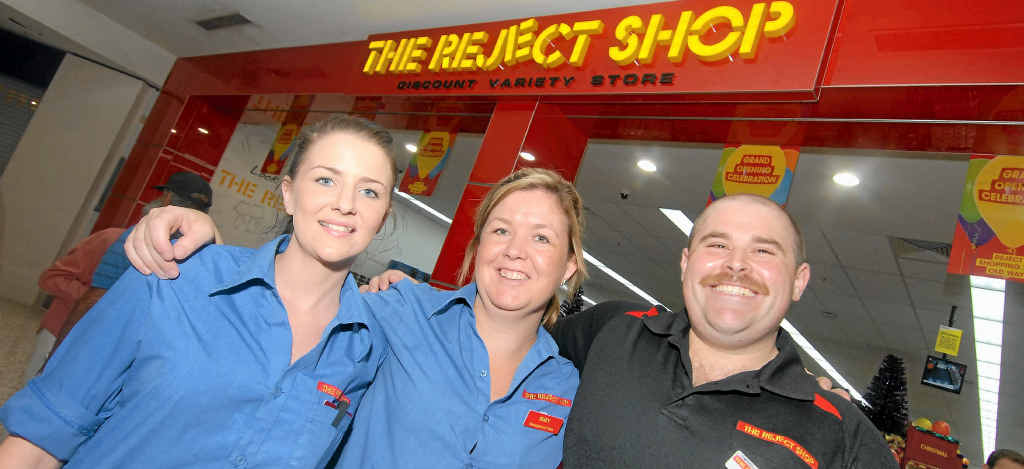 Assistant store manager Corinne Tully, store manager Suzy Nicols and area manager Jason Dearmer are happy to open The Reject Shop in Mackay.