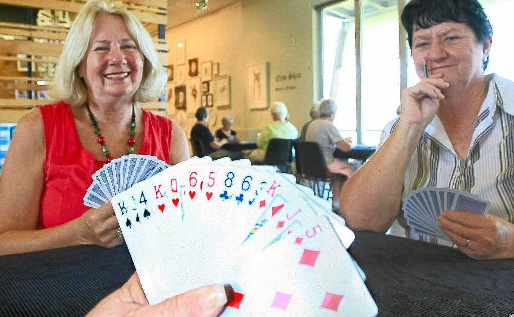 Jandra Faranda and Sandra Persey would love to see Helen Flatley's hand of cards.