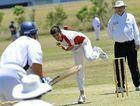 Yaralla bowler Drew Mcaully bowls to Brothers batsman Mal Carlyon.