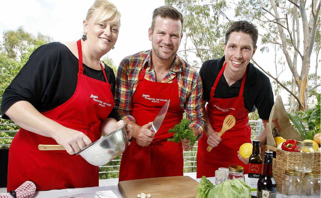 Ministry of Food centre manager Danella Martin (left) and employee Darren Foxcroft (right) with celebrity chef Ben O'Donoghue at the launch of HAPI (Happy Active People in Ipswich) at the North Ipswich Corporate Centre.