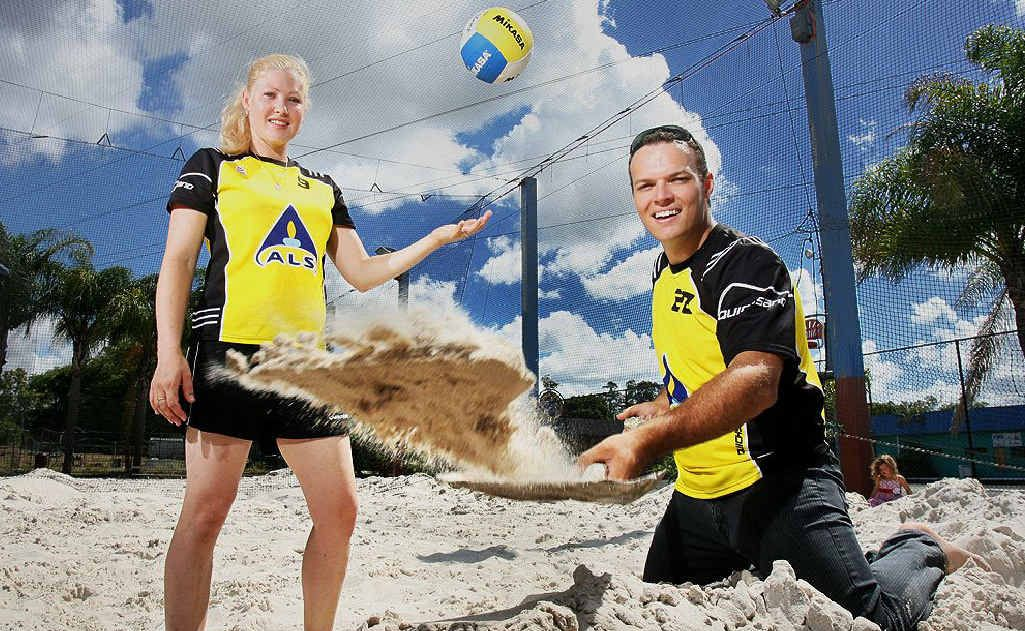 Natasha and Lincoln Rothwell are working hard to rebuild the Bundamba volleyball courts after January's flood.