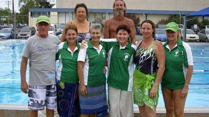 GREAT EFFORT: Whitsunday Masters Swimming Club members Bob Corskie, Kay Corskie, Julie Mitchell, Cheryl West, Mark Erickson, Raylene Rasmussen, Nicki Steel and Linda Wardroper travelled to Mackay on the weekend to compete in the North Mackay Short Course meet. Photo Contributed