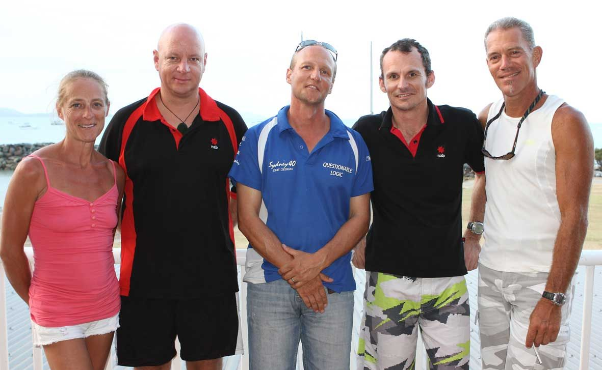 WELL DONE: Questionable Logic crew members Belinda McKenzie, Ben Gilsenan, Ben Johnston, Heath Wogan and Tommy Negendahl were the winners of the third Corporate Sailing Challenge on Saturday. Photo Sharon Smallwood/ Whitsunday Times