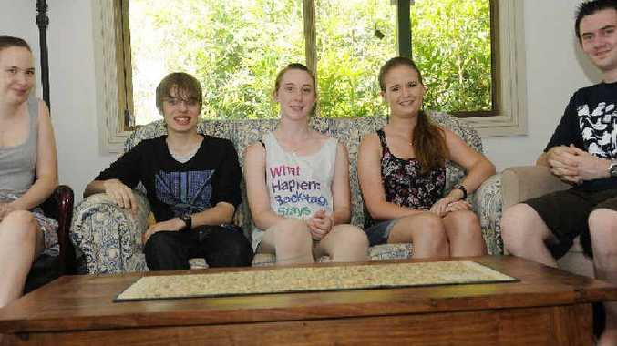 Kimberley Warren (17), Luther Rohde (16), Caty Golder (18), Jessica Fuller (17) and James Balsillie (7), discussed AIDS awareness among local teens.