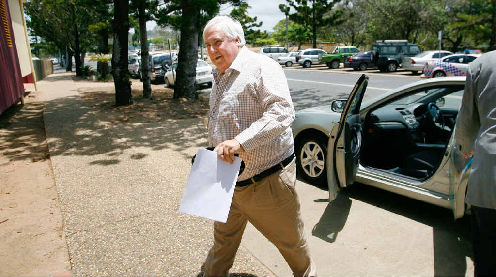 Mining magnate Clive Palmer arrives to address the business lunch in Yeppoon.