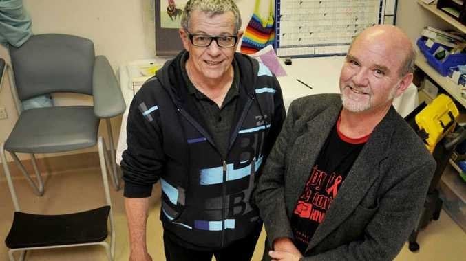 Toowoomba Hospital director of public health Dr John Hooper (left) and south-west Queensland co-ordinator for HIV Bill Rutkin say HIV is no longer a death sentence.