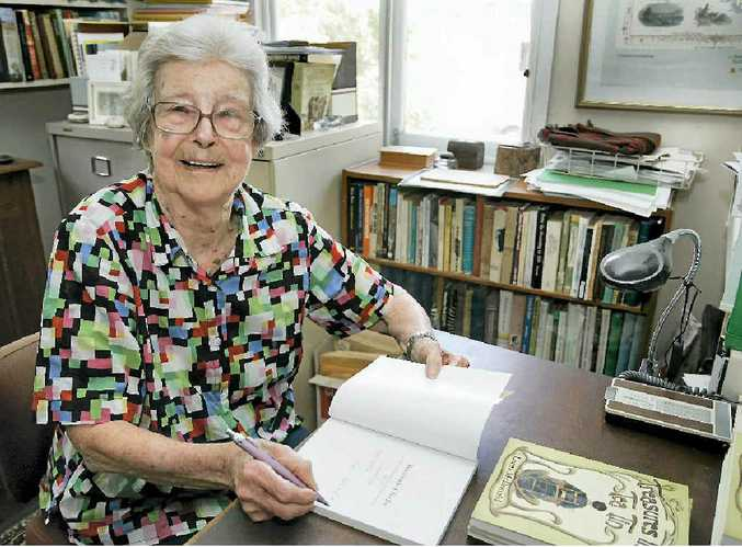 Social historian Dr Lorna McDonald signs her latest book, Treasures in a Tea Tin, based on events in Rockhampton's history, this time based on letters written to and by Joan Archer in 1906 to 1908 while she attended boarding school overseas.
