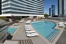 The 3700sq m pool and deck area at Vdara Hotel.