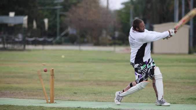 Emerald Magpies' batsman Tim Spiechowicz is bowled out by out-going Brothers' bowler Jason King at Rundle Park on Saturday.