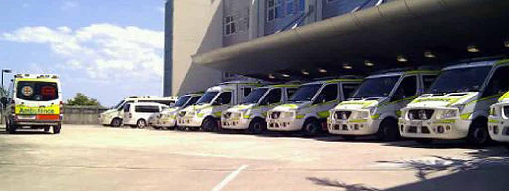 Ambulances wait outside Nambour General Hospital.
