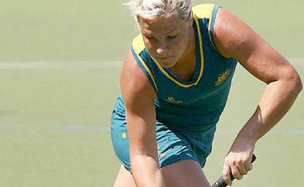 Ipswich hockey player Amy Korner runs hard during one of her 51 internationals.