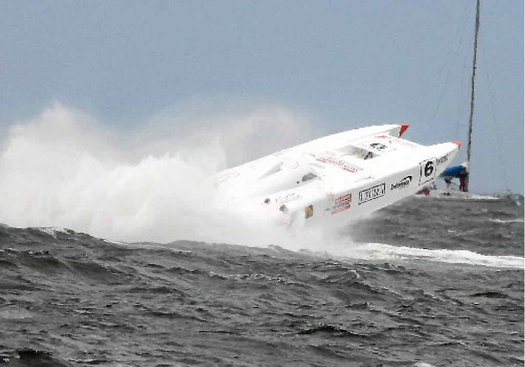 The Good Guys, driven by Chris and Brendan Frier, almost leaves the water as it hits big seas.