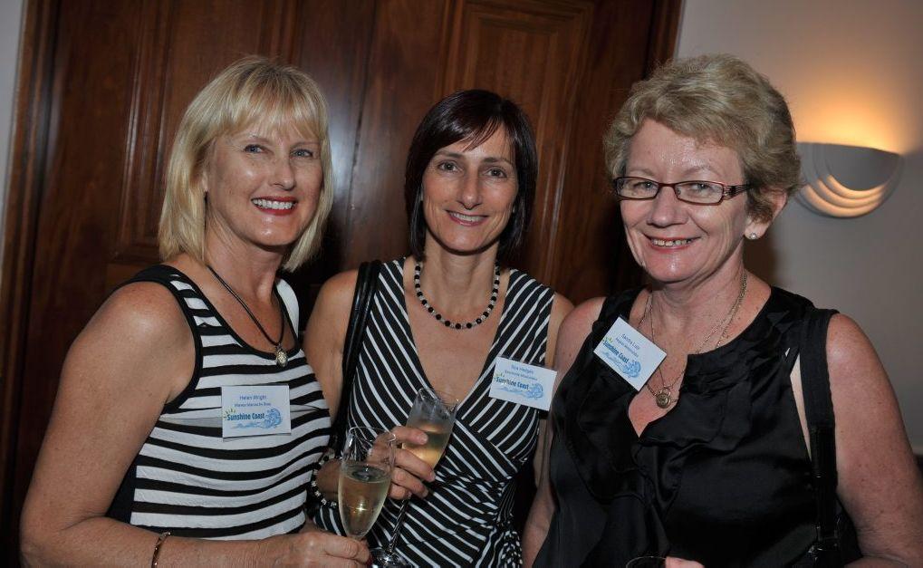 Helen Wright, Rita Hedges and Sandra Lutz at the tourism networking night at Novotel Twin Waters. Photo: John McCutcheon / Sunshine Coast Daily.