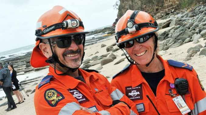 Sunshine Coast emergency services workers put their skills to the test in windy conditions off Point Cartwright cliffs.