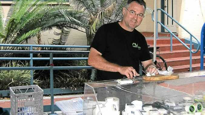 Paul Wilson at Lismore Farmers' Market, one outlet where the new ice-cream product from Nimbin Valley Dairy will be available.