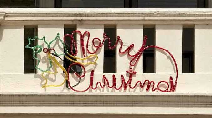 Part of the minimal Christmas decorations that adorn City Hall on Ruthven St.