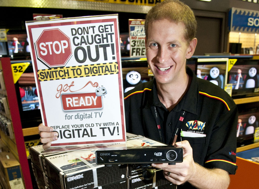 Matthew Locker from WOW Sight and Sound Toowoomba says digital set top boxes have been flying off the shelves.