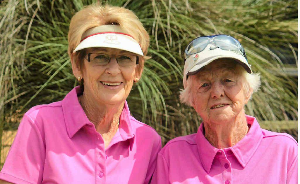 Winner Yvonne Pinington and Effie Austen, women's shootout at Warwick Golf Club.