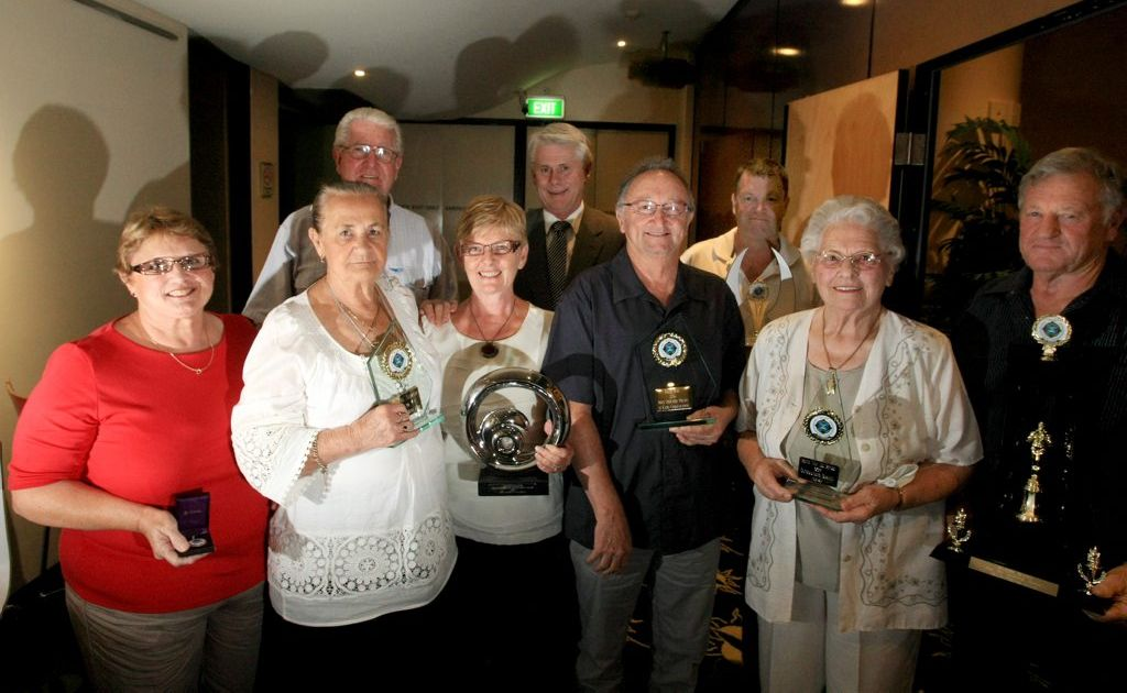 Volunteer marine award winners Glenda Ashby, Beryl Aldred, Kerry Kane, Barry May, Don and Betty Malligan, Nick Curry and Ruth van de Pavert with Tweed MP Geoff Provest in the middle rear.