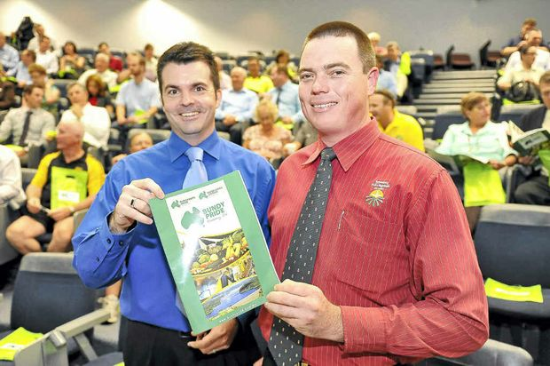 Bundaberg Chamber of Commerce president Dion Taylor and Bundaberg Fruit and Vegetable Growers' Peter Hockings at the launch of Bundy Pride.