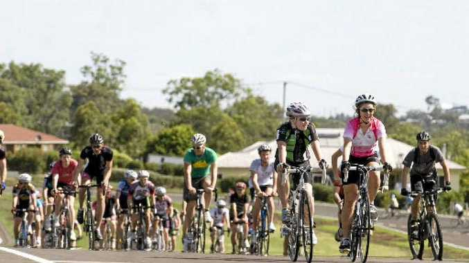 Cyclists participate in a mass social ride at the Toowoomba criterium circuit's recent offical opening.