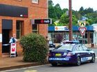 Police cordon off the Dorrigo NAB after the hold-up.  
