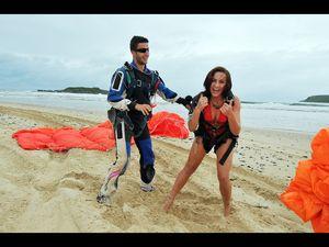 Bikini girls take the plunge