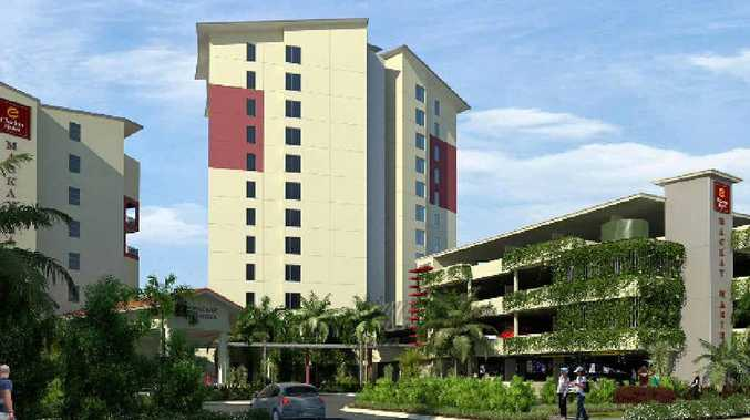 An artist's perspective of the new 12-storey hotel which will be built at the Mackay Marina alongside the Clarion Hotel.