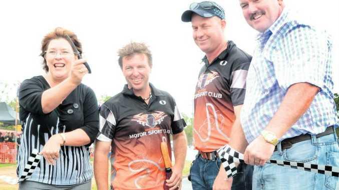 Grand Opening: From left is Whitsunday MP Jan Jarratt, go kart rep Adam Stoud, Whitsunday Motorsports Club president Andrew Auld and Whitsunday Mayor Mike Brunker.
