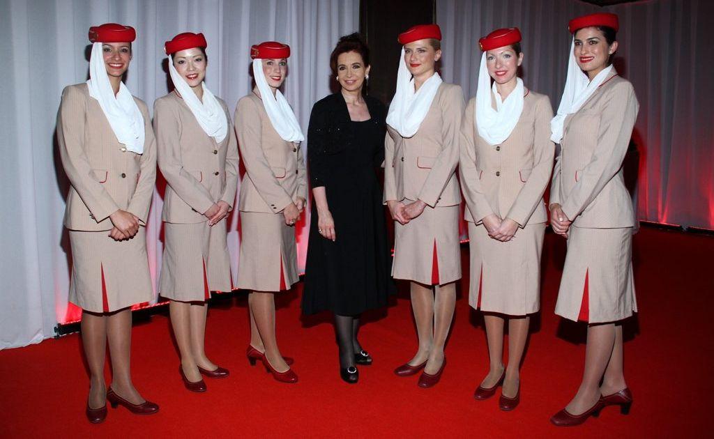 Emirates cabin crew with the President of Argentina, Cristina Fernandez de Kirchner.
