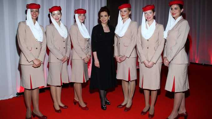 Emirates cabin crew with the President of Argentina, Cristina Fernandez de Kirchner.