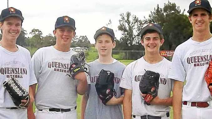 Far North Coast baseballers selected for the Australian junior championships next month are, from left, Dean Gillespie, Lachlan Allen, Will Riley, Jake Youngberry and Tom Youngberry. Absent: Nathan Cunningham and Michael Gahan.