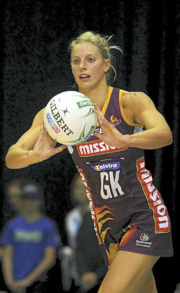 Aussie netball star Laura Geitz in action for the Queensland Firebirds.
