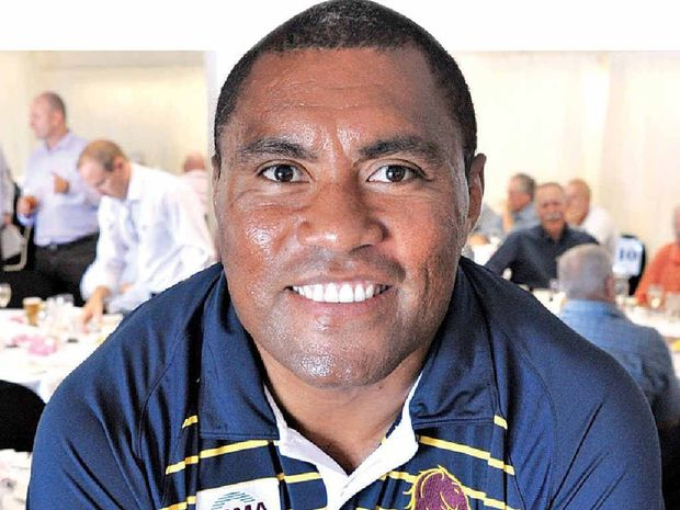 Petero Civoniceva takes some time out from his duties at the Men of League lunch at the Mooloolaba surf club.