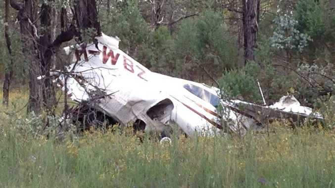 The wreckage from Darryl Marsh's fatal plane crash, 25km north of Injune.