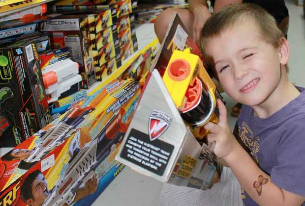 Oliver Humphry, 4, takes aim with a Nerf gun.