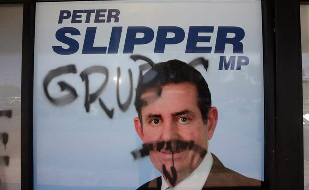 Peter Slipper's office has been hit by graffiti vandals.