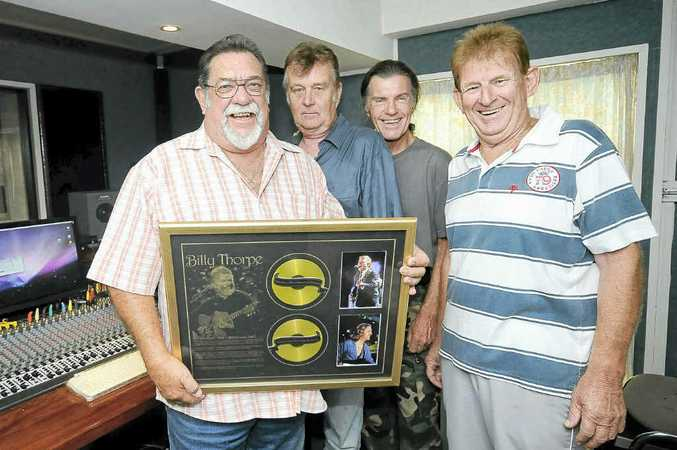 Aztec members, from left, Col Baigent (drums), Harry Young (vocals and producer of the album), Vince Maloney (guitar), and John 'Bluey' Watson (bass) at Harry Young's Pump Room Studio in Kyogle.